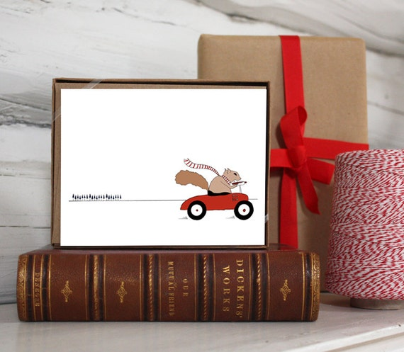 Squirrel on the Go card set. Squirrels in cars illustration