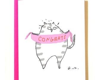 Congrats Cat Card - Pink Banner