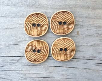 """Line Buttons (5/8"""", 3/4"""", 1"""", 1.25"""") Card of Four Bamboo Wood Button"""