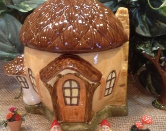 Fairy Garden  House  Acorn  Ceramic Enchanted Forest Gnome Home   +  Fairy Garden Sign