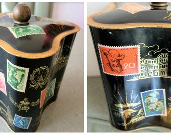 Vintage Tin, Postage Stamps, World Travels, European Landmarks, Metal Lidded Tin, Square Shaped Tin, Lidded Storage Container, Retro Tin