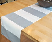 Gray White Stripe Table Runner - Cabana Storm Twill Premier Prints - Kitchen, Dining, Festive, Holidays, Wedding - Grey