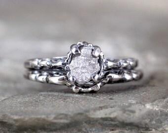 Raw Diamond Wedding Set - Oxidized Antique Filigree Style - Matching Engagement Ring and Wedding Band - Rough Diamond Rings - Wedding Rings