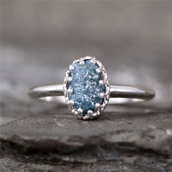 Raw Blue Diamond Ring Crown Style Setting Sterling Silver