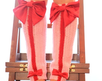 Valentine's Day Leg Warmers - Pink Leggings with Red Bows - Paris Afternoon