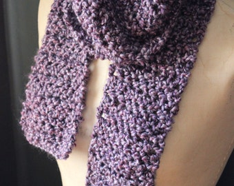 The Adaline Station Storyteller Scarf. Rustic Bohemian Gypsy Textured Hand Crocheted Lavender Wrap Scarf.