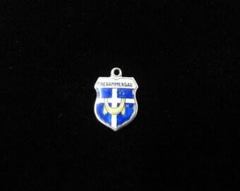 Oberammergau, Germany Town Coat of Arms- Travel Shield Charm, 800 Silver Pendant, Vintage Charm, Enamel Charm, Sterling Silver German Charm