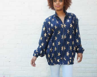 Vintage 1980s Jacket Navy Blue Zip Up with Stars