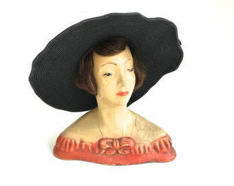 Vintage Mannequin Head Display~ 1940's L'amoureux N.Y.C ~ Brunette Hat Jewelry display~ Hand painted plaster store display~ Human Hair
