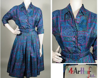 1950s Beautiful Blue Printed Silk Vintage Shirtwaist Dress SZ M