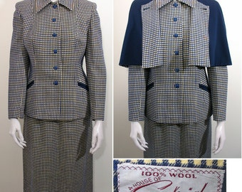 1940s Vintage Navy and Yellow Wool 3 Pc Suit  SZ M - L