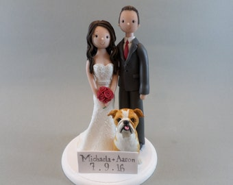 Cake Toppers - Bride & Groom with a Dog Custom Handmade Wedding Cake Topper