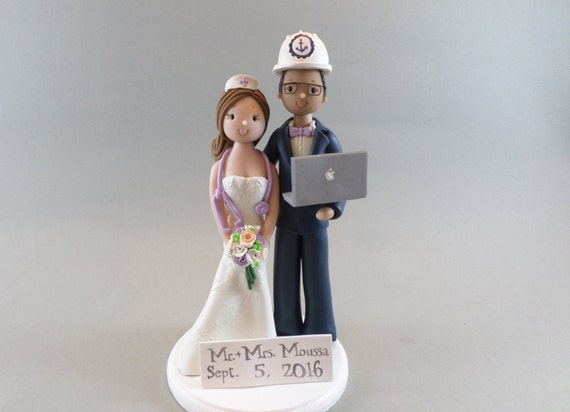 Civil And Computer Engineering Wedding Cake Toppers