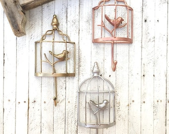 Bird Wall Hook, Rustic Wall Art, Anthropologie Style, French Style Decor, Bird House Wall Home Decor