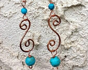 Long turquoise earrings - long earrings - copper earrings - turquoise jewelry - dangle earrings - boho earrings - Southwestern earrings