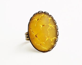 Yellow Crackle Glass Ring Large Topaz Ring Yellow Glass Ring Matte Yellow Jewelry Vintage Cabochon Statement Ring