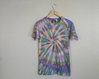 SMALL Rainbow Spiral Tie Dye T-shirt. Unisex 100% cotton tee shirt