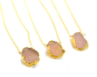 Pink Drusy Stone Necklace, Raw Gemstone Necklace, Druzy Layering Necklace