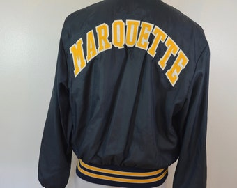 Vintage MARQUETTE Univeristy BASKETBALL jacket coat LARGE made in usa 1960's 70's