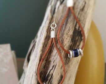 Leather and Sterling Silver Earrings with Cobalt Blue Ceramic Bead  167e
