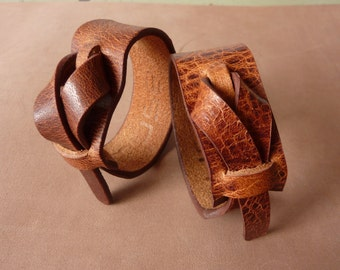 Leather Cuff, Leather Bracelet, Sienna color, Leather Muse Cuff, Free shipping
