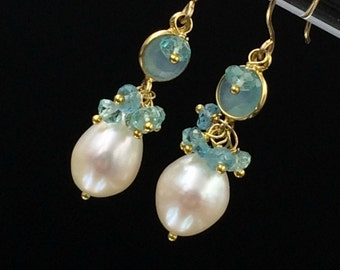 Aqua Gemstone Earrings Aqua Chalcedony Dangle Earrings Gold Filled Wire Wrap Connector Pearl Cluster Earrings