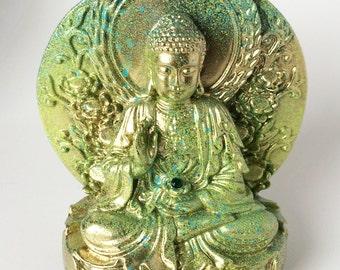 Buddha Statue, Lotus Flower, Thai Buddha Figurine, Rhinestone, Meditation, Sitting buddha