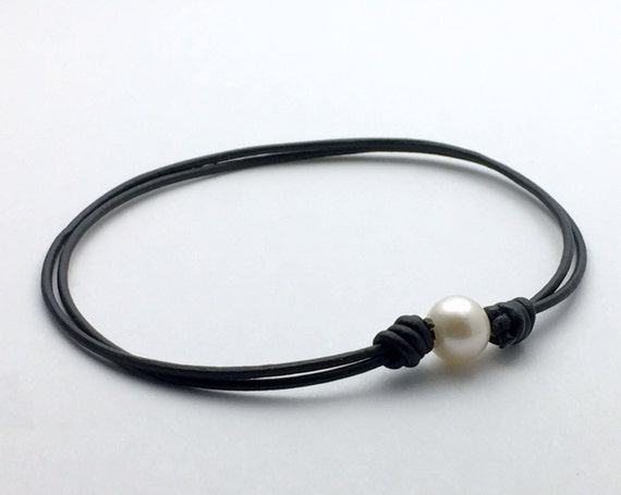 Adjustable Anklet. Freshwater Pearl Leather Bracelet. Unisex Jewelry