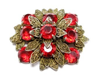 VINTAGE Filigree RHINESTONE Layered BROOCH Pin Pot Metal Flower Petals Floral Starburst Large Red Ruby 1930s Old Jewelry