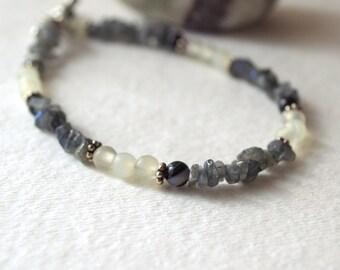 "Moonlight Labradorite, Onyx, Bracelet - New Jade, Silver - Handmade OOAK - 7"", Free US Shipping, Healing Gemstone, Hope, Love, Elegant"