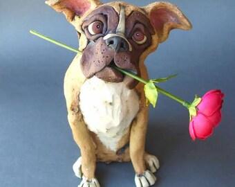 Boxer Dog Ceramic Pet Sculpture