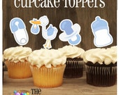 Baby Shower - Set of 12 Assorted Baby Boy Cupcake Toppers by The Birthday House