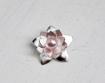 Lotus Blossom with Swarovski Crystal Pearls, Bridesmaid Gifts, Spring Weddings, Handmade Sterling Lotus Blossom, Gifts for Her
