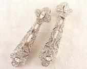 Vintage Ciner Silver Tone Deco Style Bridal Rhinestone Clip On Earrings