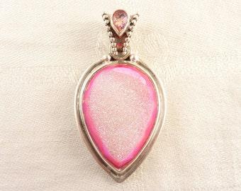 Vintage Sajen Sterling Large Drop Shaped Pink Druzy Pendant