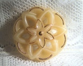 """11/16"""" Openwork Tan Glass Button with Gold Luster"""