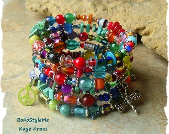 Bohemian Jewelry, Colorful Beaded Wrap Bracelet, Peace and Love, Boho Hippie Gypsy, Boho Style Me, Kaye Kraus