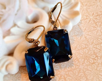 art deco earrings - Navy - Art Deco Jewelry - Victorian - WINDSOR Navy