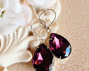 Fall Wedding Earrings - Purple - Silver Earrings - Victorian - CAMBRIDGE Purple