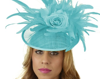 Turquoise Finey Fascinator Hat for Kentucky Derby,Melbourne Cup, Ascot (other colors)