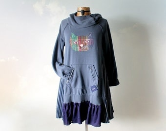 Women's Hoodie Dress Cat Applique Blue Hooded Tunic Creative Clothes Boho Chic Clothing Shabby Dress Funky Fashion Festival Wear M 'GABBIE'