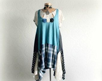Women Tunic Dress Plus Size Boho Top Lagenlook Fashion Upcycle Clothing Rustic Peasant Clothes Layering Shirt Loose Jumper Dress 1X 2X 'LARK
