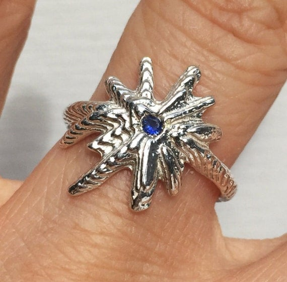 ON SALE! Sterling Silver & Blue Sapphire Starburst Ring