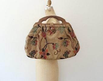 vintage tapestry bag / vintage sewing bag / Clematis tapestry bag