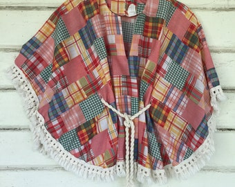 VINTAGE 70s plaid fringed HIPPIE poncho top