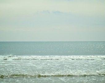 Beach Photography, Pastel Beach Art, Nature Photography, Pale Aqua Coastal Wall Art, Mint Ocean Print,Pale Blue Ocean Art,Green Beach Prints