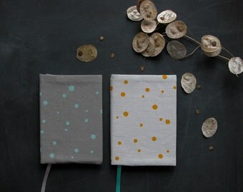 SALE - handprinted fabric covered notebook journal