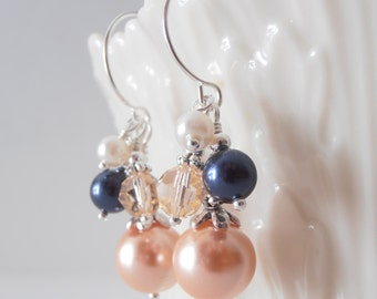 Peach and Navy Earrings for Bridesmaids Set of 6 Bead Cluster Dangles Wedding Jewelry Pearl Earrings Navy and Peach Weddings Bridesmaid Gift