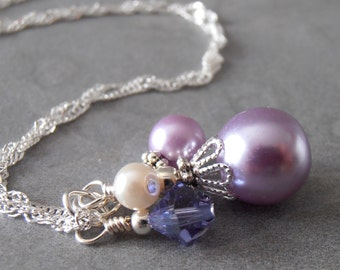 Lavender Cluster Necklace Pearl Bridesmaid Jewelry Lavender Wedding Sets Handmade Purple Pearl and Crystal Pendant  Sterling Silver Chain