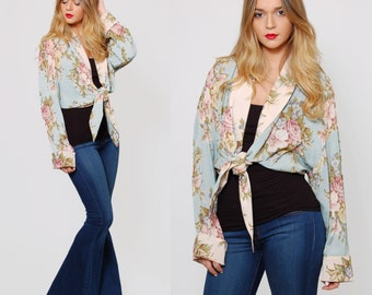 Vintage 80s FLORAL Crop Top Open Front ROSE Print Long Sleeve Blouse Boho Layering Top Blue Short Jacket